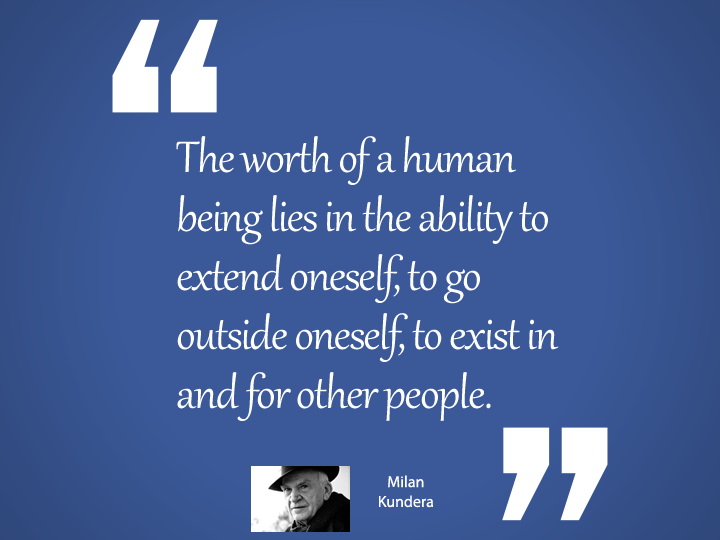The world of a human being Kundera Quote