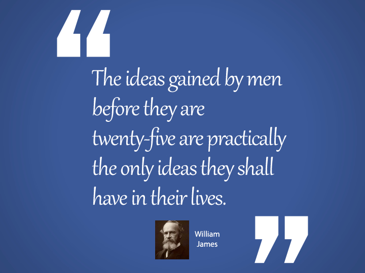 The ideas gained by men before they are twenty-five